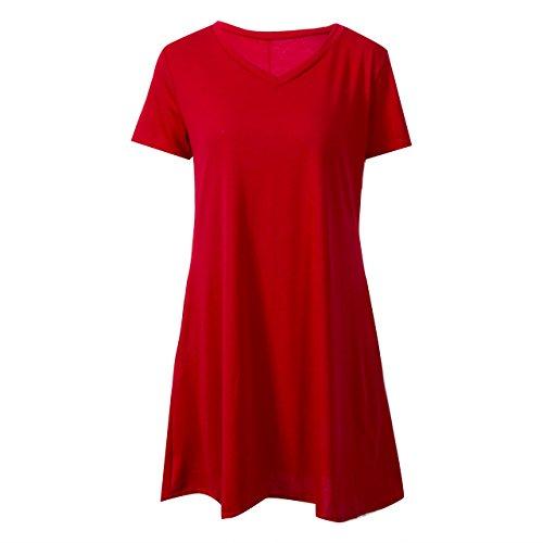 Beautmell Vestido de mujer de manga corta con cuello en V con estilo de color sólido camiseta con bolsillo Swing vestido básico de verano, rosso, L