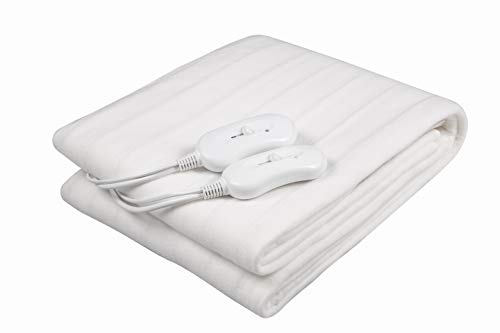 AIMS Heated Electric Blanket Heated Under Bed Comfort Detachable Controller with 3 Heat Settings, Polyester, White Super Cosy Washable Fleece (KING 160x150cm (Dual))