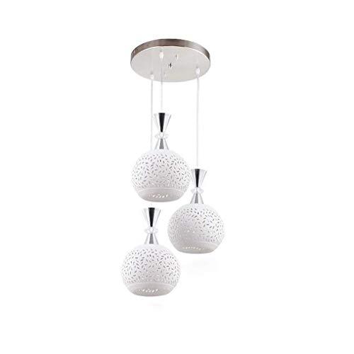 XLTT Lámpara Colgante Minimalista Moderna E27 Y Tiempos;3 Bombillas Lámpara Colgante De Metal Blanco Diseño Perforado Pantalla De Cerámica Creativo Buen Gusto Altura Lámpara Colgante Ajustabl
