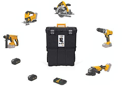 VITO Professional (PowerPack6) 2x 4.0Ah Akku Combo Werkzeug Set 20V mit 2 Akkus und Trolley Koffer XL - Akku Kombi Multi Set Kombopack