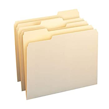 Amazon Basics 1/3-Cut Tab Assorted Positions File Folders Letter Size Manila - Pack of 100