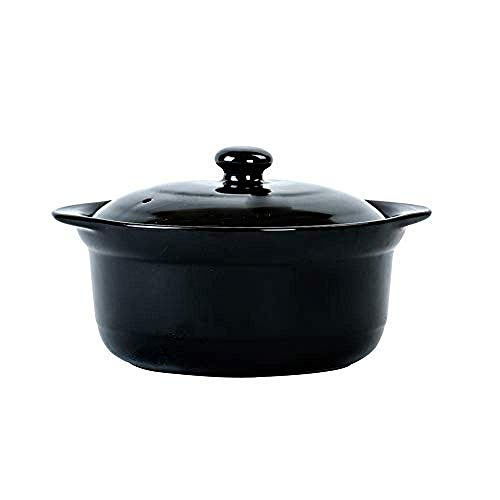 YWYW Clay Casserole Pot Terracotta Stew Pot Ceramic Casserole - High temperature resistance, heat build-up and heat preservation, does not fade, easy to clean, 1.8 l_ capacity black