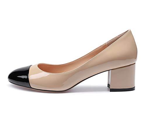 CASTAMERE Mujer Medio Tacón Punta Redondas Tacón Ancho Zapatos de Tacón 5CM Negro Beige Charol Zapatos EU 40
