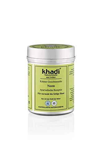 khadi Gesichtsmaske mit Neem 50g I Natürliche Gesichtspflege für normale bis fettige Haut I Ayurvedische Rezeptur aus Indien I Kontrollierte Naturkosmetik ohne künstliche Zusätze