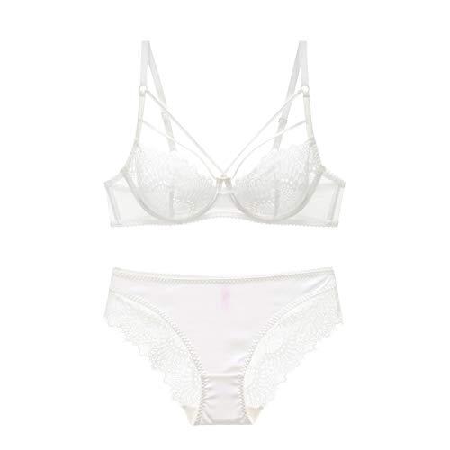 Cwang Sujetador de algodón cómodo sin Espuma, sin Aros, de Encaje, Talla Grande para Mujer,Blanco,75E/M=34E/M