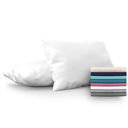 Dreamzie - Set de 2 x Funda de Almohada 50x75 cm, Blanco Alabastro, Microfibra (100% Poliéster) - Fundas de Almohadas Hipoalergénica - Fundas de Cojines de Calidad con una Suavidad Incomparable