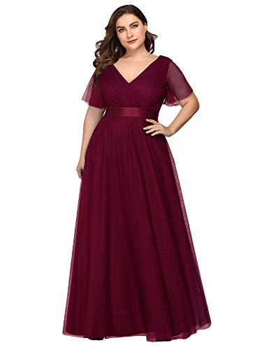 Ever-Pretty Damen Abendkleid V Ausschnitt A-Linie Kurze Ärmel Lange Tüll Brautjungfernkleid Burgund 50