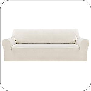 UMI by Amazon Funda Sofa Suave Elastica de Color Liso 3 Plazas Blanco