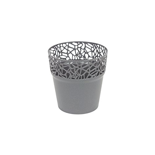 Prosper Plast dnat120–426U 12x 12,2cm natur Blumentopf, dunkelgrau