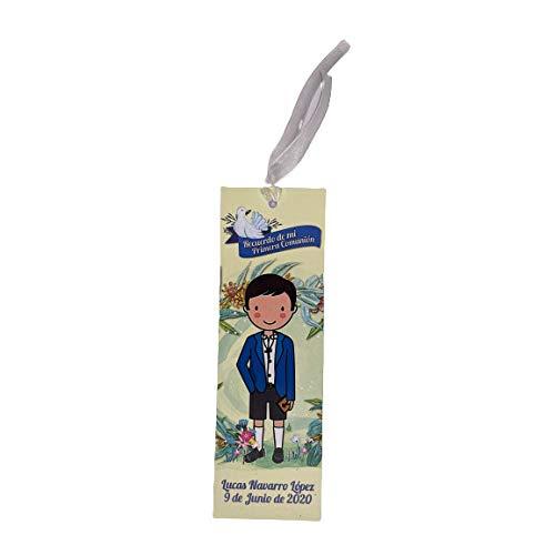 Antracita Recordatorio Comunion Niño Personalizado (20 Unidades) Beige - señalizador para Detalles de comuniones - Marcapaginas como Recuerdo de los Invitados a Comunión
