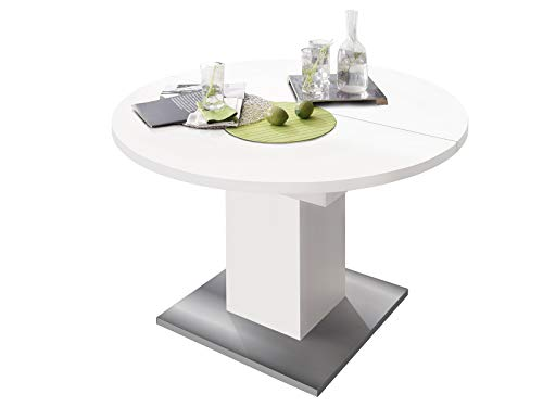 Esszimmertisch Tisch Esstisch Küchentisch Speisentisch Holztisch Judd II Blanco matt/Edelstahloptik