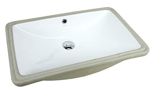 KINGSMAN 24 Inch Rectrangle Undermount Vitreous Ceramic Lavatory Vanity Bathroom Vessel Sink Pure White (24 Inch)