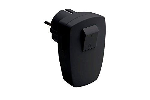 Meister Schutzkontakt-Stecker - schwarz - 250 V - 16 A - Mit 2-poligem Schalter - Maximaler Kabelquerschnitt 1,5 mm² - IP20 Innenbereich - Seitliche Einführung / Winkelstecker mit Schalter / 7421220