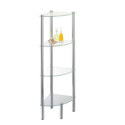 axentia Solanio - Mensola angolare da bagno in vetro e metallo cromato - Mensola da bagno con 4 ripiani - Scaffale da bagno portaoggetti, 30x30x108 cm