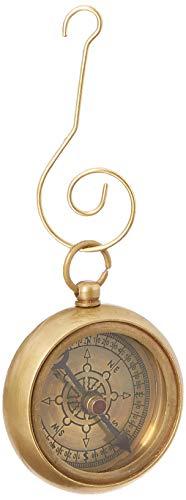 Hampton Nautical 3xglass-101 Antique Brass RMS Titanic White Star Pocket Compass Ornament 3'-Christmas Tree Decoration, 3'