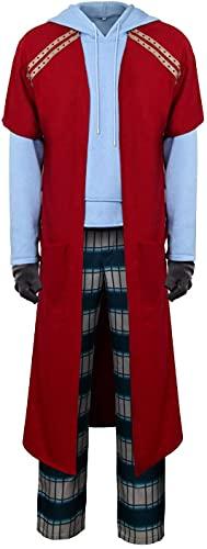 YBINGA Disfraz de Thor gordo para hombre, casual, con capucha, pantalones largos, traje de fiesta de Halloween, accesorios de cosplay (talla XL)