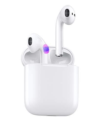 Auriculares inalámbricos,Auriculares Bluetooth 5.0,Bluetooth Deporte con Micrófono Reducción de Ruido CVC 8.0 Cascos,Auriculares Inalambricos Bluetooth para Apple AirPods iPhone/Android (Blanco)