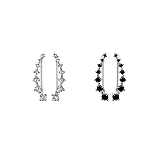Sterling Silver 2 Pairs Set Black Clear 7 Crystal CZ Ear Cuff Wrap Crawler Climber Earrings for Women Girls Cubic Zirconia Fashion Diamond Huggie Jackets Hypoallergenic Gifts for Birthday Best Friend