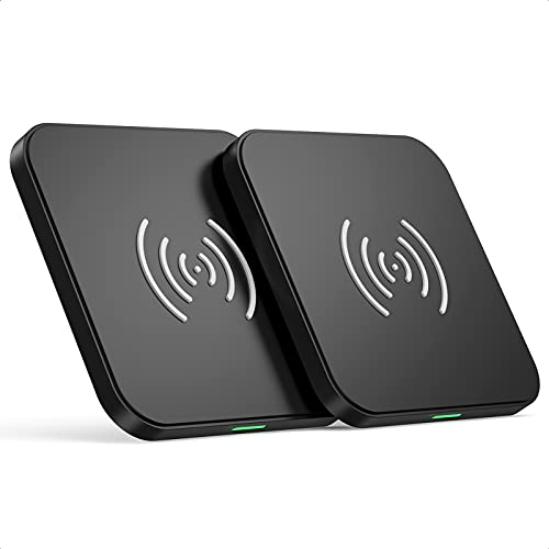 Wireless Charger, Qi-Certified 10W Max Fast Wireless Charging Pad Compatible with iPhone 12 12 Mini 12 Pro Max SE 2020 11 Pro Max 8 Plus,Samsung Galaxy S21 S20,AirPods Pro [2 Pack] (No AC Adapter)
