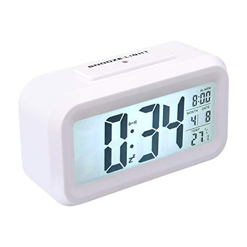 Dsaren Despertador Digital Reloj de Alarma Digital Alarma Despertador con Temperatura Luz de Noche Fecha Hora Snooze para Niños Adultos Hogar Oficina Mesita de Noche Viaje Despertado (Blanco)