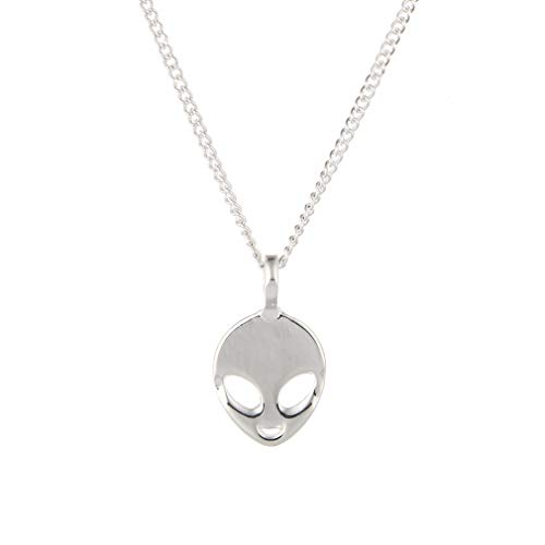 YOOE Hollowing Face Eye Emoticon Alien Pendant Necklace,UFO ET Science Fiction Cartoon Head Portrait Necklace for Women Girls Birthday Gifts (Silver)