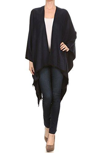 LA12ST Women Winter Reversible Oversized Fleece Blanket Knit Poncho Cashmere Cape Scarf Coat Gardigan