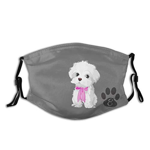 SUPS Staubdichte Maske für Erwachsene mit 2 Aktivkohlefilter Malteser Hund Pink Bow Monogram Winddicht Einstellbare Wiederverwendbare Halbgesichtsmaske für Sportliche Outdoor Aktivitäten