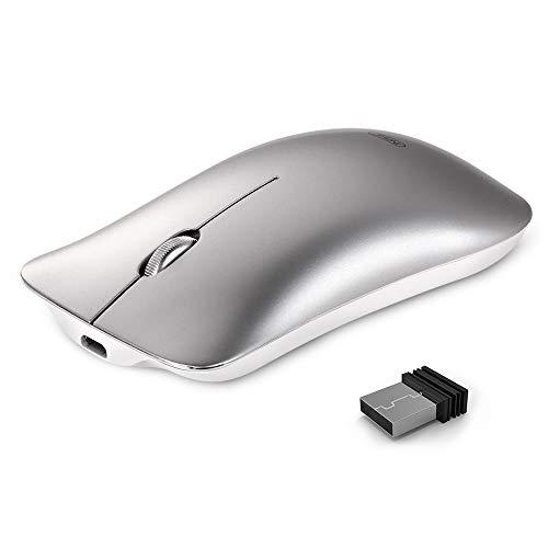 INPHIC Ratón inalámbrico, Slim Silent Click Recargable 2.4G Ratones inalámbricos 1600DPI Mini óptico portátil de Viaje Wireless Mouse para PC Ordenador portátil Mac, Plata