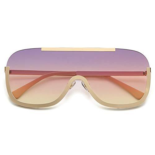 Gafas de Sol Gafas De Sol Futuristas Sin Montura con Gradiente De Moda para Hombres Y Mujeres, Gafas De Sol Clásicas con Espejo De Metal Vintage De Lujo C1