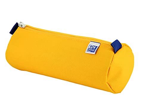 Oxford - Estuche escolar redondo grande, kangoo kids con goma, 22 cm, color amarillo