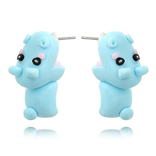 Orecchini in argilla 3D, orecchini in argilla animale dei cartoni animati, orecchini a forma di animale in argilla polimerica fatti a mano semplici alla moda,regali creativi per ragazze donne (hippo)