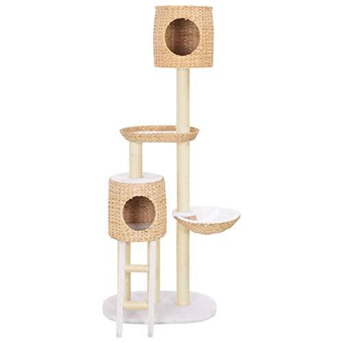 vidaXL Kratzbaum mit Häusern Körben Leiter Abnehmbaren Kissen Katzenbaum Katzenkratzbaum Kletterbaum Spielbaum für Katzen Sisal Seegras Plüsch 153 cm