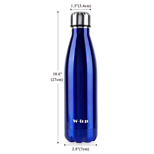 Botella de Agua Deportiva de Acero Inoxidable, W-top 500ml Doble Pared Aislada...