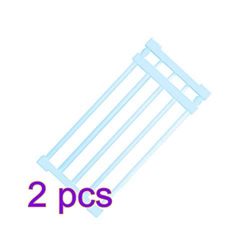 Topbathy, 2 estantes escalables de 30 a 40 cm, sin necesidad de taladrar estante de almacenamiento para armario (azul)