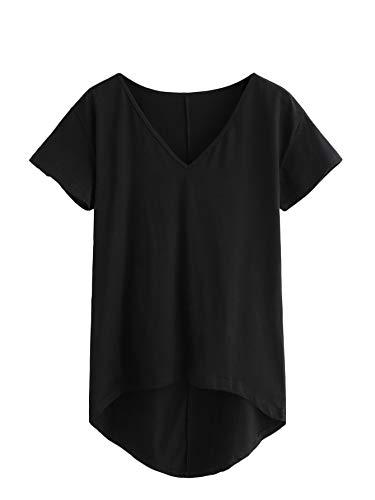 DIDK Damen V-Ausschnitt T-Shirt Kurzarmshirt Einfarbig Tops Casual Oberteile Asymmetrisch Locker Sommer Shirts Tunika Top Reines T-Shirts Schwarz L