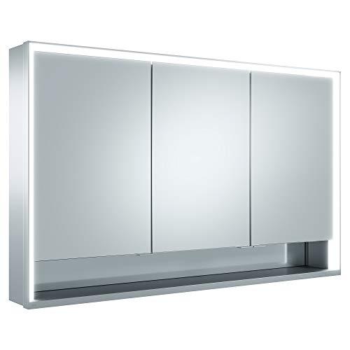 Keuco Spiegel-Schrank mit Variabler LED-Beleuchtung, Badezimmer-Spiegelschrank, mit Aluminium-Korpus, mit 3 Türen, 120x73,5x16,5 cm Royal Lumos