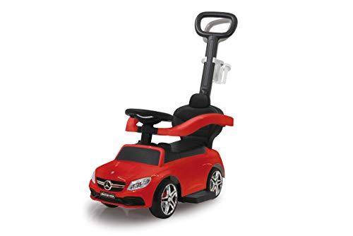Jamara 460446 Mercedes-AMG C 63 3-in-1 anti-kantelbeveiliging, kofferbak, duw- en handgreep met stuurfunctie, rugleuning, beschermbeugel, uittrekbare voetsteun, geluid/claxon op het stuur, rood