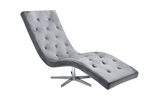 DuNord Design ligstoel grijs fluweel 165 cm relaxstoel chaise lounge