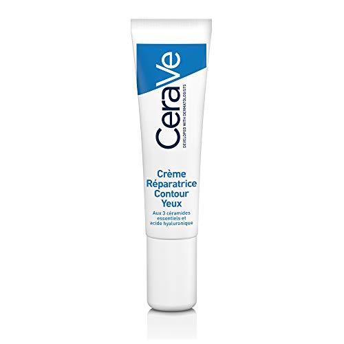 CeraVe Crème Réparatrice Contour Des Yeux | 14ml | Soin Apaisant Hydratant 24h à l'Acide Hyaluronique pour Contours des Yeux Secs, Cernes et Poches