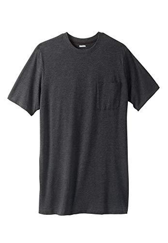 KingSize Men's Big & Tall Shrink-Less Lightweight Longer-Length Crewneck Pocket T-Shirt - Tall - 5XL, Heather Charcoal Gray