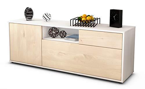 Stil.Zeit Möbel TV Schrank Lowboard Amila, Korpus in Weiss matt/Front im Holz Design Zeder (135x49x35cm), mit Push to Open Technik und hochwertigen Leichtlaufschienen, Made in Germany