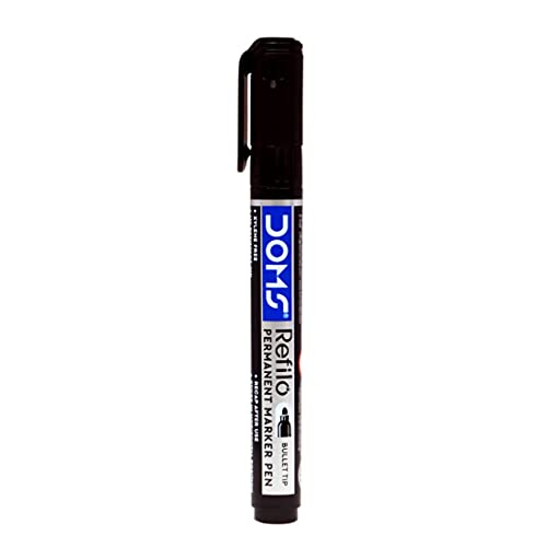 Doms Refilo Permanent Marker Pen Blackt(Pack Of 10 pc)