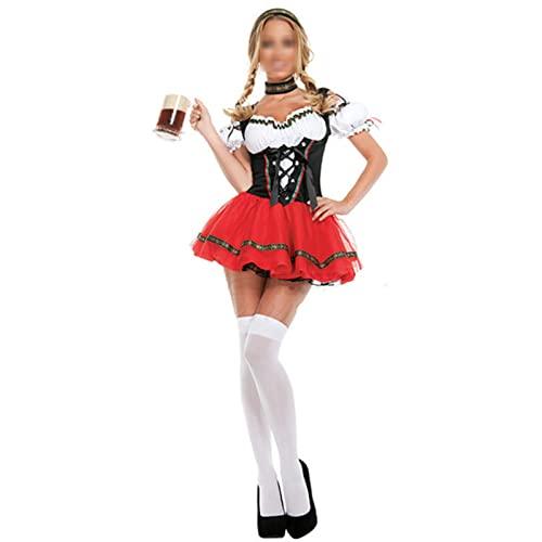 NASTON Disfraz de Oktoberfest de Uniforme de sirvienta de Halloween, Disfraz de Chica de Cerveza, Fiesta de Disfraces de Camarera de Barman,Rojo,L
