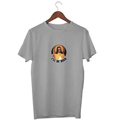 KLIMASALES Ik zal terug komen grappige Jezus Quote_KK015994 shirt T-shirt voor mannen - grijs