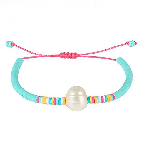 KANYEE Pulseras de cuentas de perlas hechas a mano coloridas pulseras del cordón de la amistad, pulseras del encanto - 19E