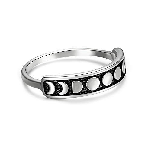 Angol Sterling Silver Rings for Women Vintage Moon Phase Stacking Finger Ring 925 Black Band Minimalist Jewelry Size 8 Mothers Day Gift with Box