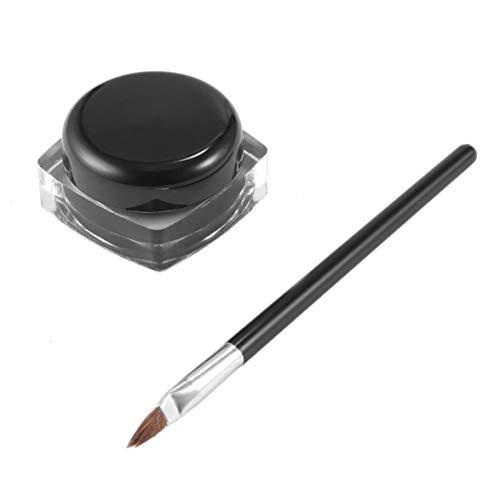 Sylvialuca Wasserdichter lang anhaltender Gel Eyeliner Shadow Cream Cosmetics Eyeliner mit Pinsel Schwarz Set Makeup Eyeliner