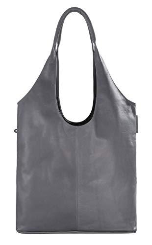Hobo Bag, shopper van fijn echt leer, met magneetsluiting en binnentas sporttas, zwart