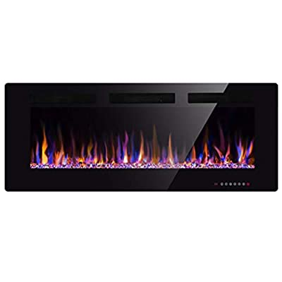 "Xbeauty 50"" Electric Fireplace in-Wall Recessed and Wall Mounted 1500W Fireplace Heater and Linear Fireplace with Timer/Multicolor Flames/Touch Screen/Remote Control (Black)"