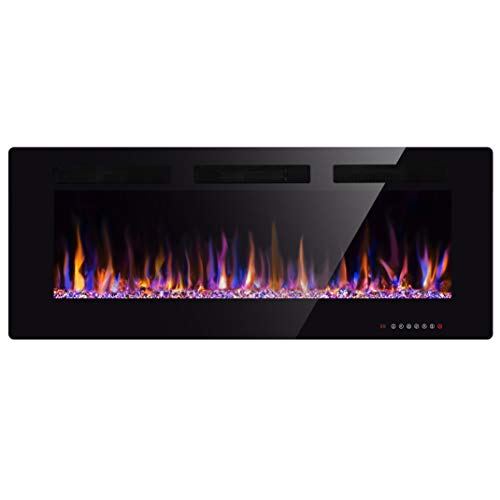 """Xbeauty 36"""" Electric Fireplace in-Wall Recessed and Wall Mounted 1500W Fireplace Heater and Linear Fireplace with Timer/Multicolor Flames/Touch Screen/Remote Control Black"""